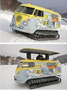 VW Bus outfitted for snow and a party- snow party ! VW Bus outfitted for snow and a party - Bus Vw, Auto Volkswagen, Vw T1, Cool Trucks, Cool Cars, Dump Trucks, Kombi Pick Up, Combi Ww, Vw Minibus