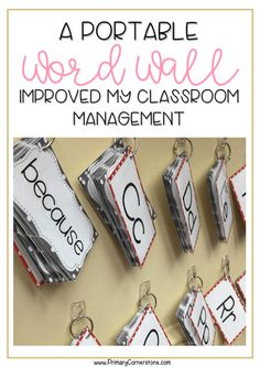 A portable word wall has helped so much. My students are independent and use it a lot during writing centers. It is great for kindergarten and first grade. The template in this particular one is editable so you can add more words and differentiate for the Word Wall Kindergarten, Classroom Word Wall, Math Wall, Kindergarten Classroom Decor, Math Word Walls, Kindergarten Lesson Plans, First Grade Classroom, Classroom Themes, Seasonal Classrooms