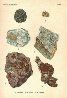 CHROMOLITHOGRAPH -1911 Antique Vintage Art Print - Beautiful Minerals- GOLD Vintage Art - Precious Stones - Edwardian Victorian Picture -