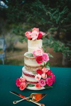 Rose Naked Wedding Cake by Kendra's Country Bakery - http://cakesdecor.com/cakes/219947-rose-naked-wedding-cake
