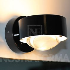 Top Light Puk Wall wall lamp with clear lense and frosted glass, LED