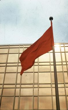 Red flag infront of the Palace of the Republic in East Germany