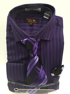 New Men's Dress Shirt Purple Lavender Black Prime Time with Tie Hankie Cuff Link in Clothing, Shoes & Accessories, Men's Clothing, Dress Shirts | eBay
