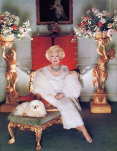 Barbara Cartland at home~the queen of romance novels...her daughter Raine married Princess Diana's father.