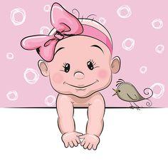 Cute cartoon baby girl - Illustration vectorielle