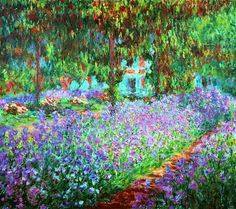 """""""Irises in Monet's Garden"""" in 1900 by Claude Monet (Paris 1840 - Giberny 1926). Oil on Canvas. Monet noticed the village of Giverny while looking out of a train window. In 1890 he had enough money to buy the house and create the gardens he wanted to paint. He wrote daily instructions to his gardener, designs and layouts for plantings, and invoices for his collection of botany books. As Monet's wealth grew, his garden evolved. He remained its architect, even after he hired seven gardeners."""