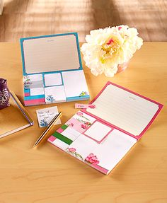 This Sticky Note Portfolio brings a colorful design to your reminders and messages. Use this fashionable and convenient set of premium sticky notes to flag pages, make lists and more. Put a reminder for aschoolmeeting, sports event or dance anywhere!  Perfect for showing kids whats planned for the week and getting them involved with organizing themselves.
