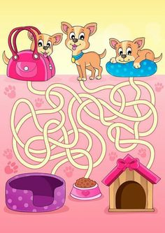Maze 13 with dogs - vector illustration Poster Poster. Dyslexia Activities, Preschool Learning Activities, Kids Learning, English Worksheets For Kids, Fun Worksheets, Mazes For Kids, Art For Kids, Maze Drawing, Maze Worksheet