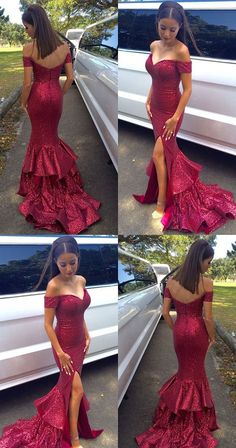 Sexy Off-the-shoulder Long Mermaid Prom Dress with Side Slit