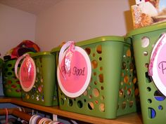 Organize girl closet by adding tags to baskets from dollar tree ...http://organizethisfamily.blogspot.com/2013/03/organizing-girls-closet.html