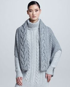 Loro Piana Gile Cable-Knit Cape Shrug, Turtleneck Tunic Sweater, Cable-Knit Scarf & Devon Riding Pants - Neiman Marcus
