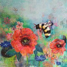 Bee with poppies. Beepainting by artist Lisa Marie Schmidt Redhead Art, Artist Gallery, Lisa Marie, Schmidt, Poppies, Bee, Vibrant, Artwork, Paintings