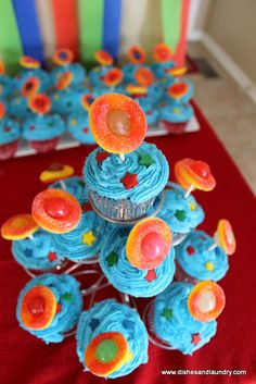 Outer Space Themed 1st Birthday Party. Homemade cupcakes that have the planet Saturn and stars on them.