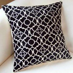 Decorative Pillow Black Lattice Pillow Cover 16x16 by nestables, $18.00