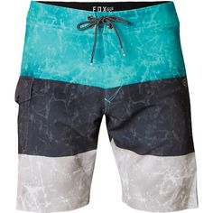 "Sublimated graphic.Z-Lock fly.Boot lace drawcord.Right side velcro flap pocket.FOX Damask label at left hip.Boardshort Woven label on back waist, FOX clamp label on pocket flap.Welded hem 19"" Outseam.86% Polyester / 14% Spandex Q4 170G."