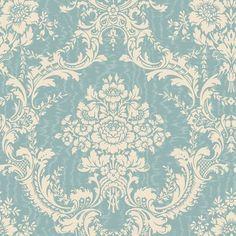 BC1582079 Antoinette Damask Wallpaper, Design by Color/Aqua, Contemporary Wallpaper, Design by Color