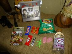 The party favors.  Slug zombies, zombie sticky body parts & Walking Dead tags found at Target.