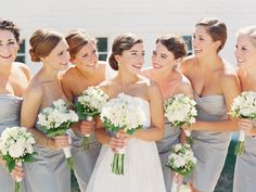 Elegant Nebraska City Wedding Captured by Megan Pomeroy - Real Weddings… Grey Bridesmaid Dresses, Bridesmaid Flowers, Brides And Bridesmaids, Bridesmaid Ideas, Wedding Dresses, Farm Wedding, Wedding Bells, Wedding Grey, Chic Wedding