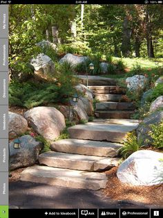 Solar path lights are ideal for illuminating walkways far from exterior outlets, and can provide an enchanting glow along winding garden paths. (These steps are perfect! Garden Stairs, Garden Bridge, Hillside Landscaping, Landscaping Ideas, Hillside Garden, Outdoor Landscaping, Traditional Landscape, Traditional Design, Dream Garden