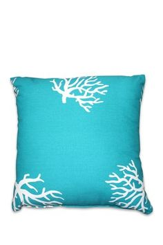 Coral Turquoise Throw Pillow - 18 x 18