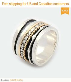 ON SALE Gift For Her Wide spinner ring Wedding ring Silver