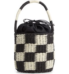 Small Woven Drawstring Bucket Bag | #Bucket_Bag | #Bucket | #Bags |