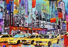 Art painting abstract pop art painting new york by jolinaanthony, $499.00