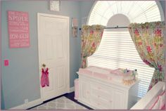 We love a light #blue #nursery for a baby girl.  #floralcurtains