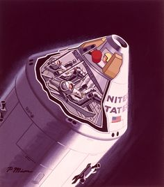 1065209.  A cutaway diagram shows the insides of a manned Apollo space capsule.