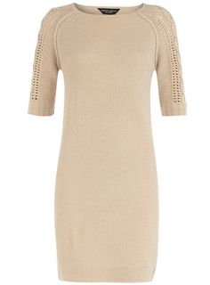 Knitted cream cable sleeve dress