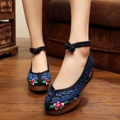 Fashion Old Peking Cloth Shoes Chinese Style Inside Increased Mary Janes…