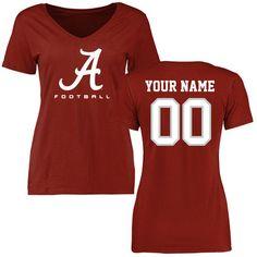 Alabama Crimson Tide Women's Crimson Personalized Football Slim Fit T-Shirt