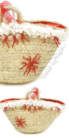 #coffasiciliana coffa, borsa in palma nana decorata con nappine e pom pom…