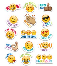 Students will love these Emoji stickers! Sweet and silly emoji faces along with their rewarding phrases will encourage children with social media and digital style.