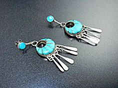 Native American Zuni Turquoise Inlay Sterling Silver LM Post Earrings 2 1/4 inches long 7/8 inch wide