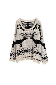 Deer Pattern Loose Fit Sweater, iAnyWear