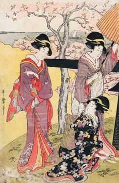 Vue des cerisiers en fleurs à Gotenyama (Gauche) | Utamaro