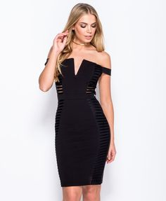 Bardot off the shoulder dress Bodycon fit with lace panel detail Lace & stretch fabric Our model is a UK size and her height is Bardot, Ralph Lauren, Bodycon Dress, Formal Dresses, Lace, Fashion Trends, Style, Dresses For Formal, Swag