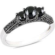 1 Carat T.W. Black Diamond Sterling Silver Engagement Ring (4.5…  $229.00