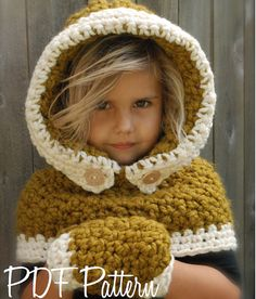This is a listing for The PATTERN ONLY for The Fern Hood/Mitten Set This hooded cowl is handcrafted and designed with comfort and warmth in Crochet Baby Mittens, Baby Girl Crochet, Crochet For Kids, Crochet Hood, Knit Crochet, Velvet Acorn, Hooded Cowl, Super Bulky Yarn, Crochet Projects