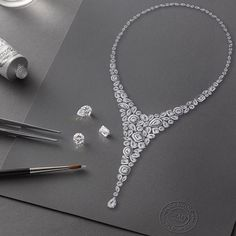 graffdiamonds: A work of art Graffs highly skilled design team is experienced in creating stone-led jewellery pieces - epitomised by this diamond Celestial necklace.  To begin the natural beauty of each diamond is considered. A design is then realised with a pencil sketch an outline a vision put down on paper - followed by a gouache painting; a time-honoured skilled tradition of fine jewellery that turns a hand-painted design into a work of art. #GraffDiamonds #Constellation #FineJewellery