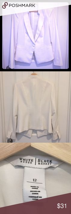 White House Black Market Blazer Size 12 WHBM white/cream blazer. From other listing in my closet. Was sold by accident and sale canceled. Same listing and picture with details is included. White House Black Market Jackets & Coats Blazers