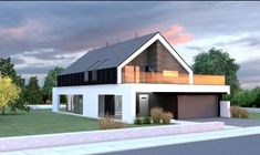 Like balcony idea, not rest of house Model House Plan, House Plans, Modern Architecture House, Architecture Design, Modern Barn House, Modern Villa Design, Bungalow House Design, Bungalows, House Layouts