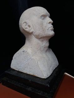 Bath #limestone #sculpture by #sculptor Marc Bodie titled: 'Little Caesar (Small Carved Stone Male Bust statue)'. #MarcBodie