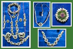 flower jewellery made with real jasmine buds and kundan applique.Set includes gajra, 2 baju bands,earrings,mang tikka, bracelets ,finger rings 1 long necklace and short necklace and waist belt.