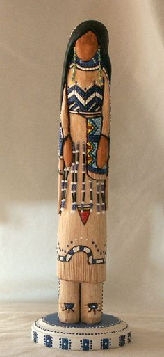 "Blackfoot maiden Native American faceless art doll fantasy 12"" collectible wood carving, n.d."