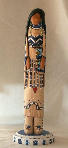 "Blackfoot maiden Native American faceless art doll fantasy 12"" collectible wood carving"
