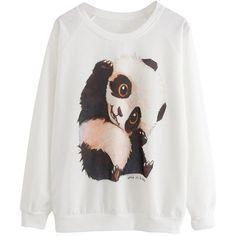 White Womens Cute Panda Printed  Crew Neck Sweatshirt ($9.90) ❤ liked on Polyvore featuring tops, hoodies, sweatshirts, shirts, sweaters, white, white tops, sweatshirt shirts, crew neck sweat shirt and sweat shirts