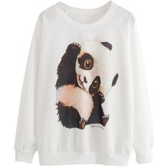 White Womens Cute Panda Printed  Crew Neck Sweatshirt (17 CAD) ❤ liked on Polyvore featuring tops, hoodies, sweatshirts, shirts, sweaters, white, white crew neck shirt, crewneck shirt, crewneck sweatshirt and white crew neck sweatshirt