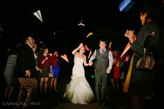 reception exit with paper planes